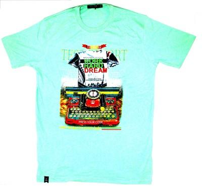 99DailyDeals Printed Men,s Round Neck Light Green T-Shirt