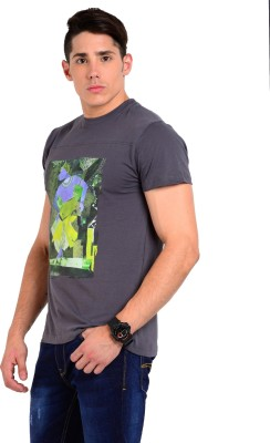 Sting Solid Men's Round Neck Grey T-Shirt