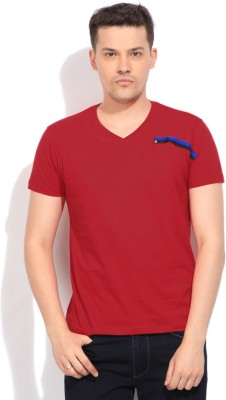 Flippd Solid Men's V-neck Red T-Shirt
