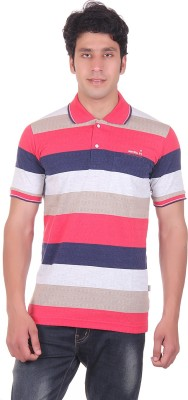 Montreal Striped Men's Polo Red T-Shirt