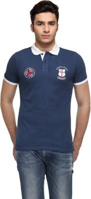 Flippd Solid Men's Polo Neck Dark Blue T-Shirt