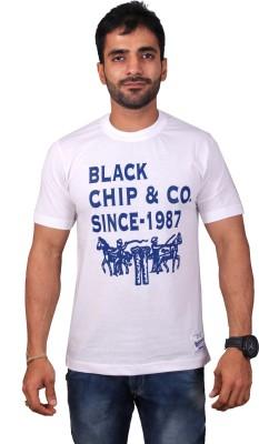 Black Chip Printed Men's Round Neck White T-Shirt