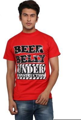 Chinese Printed Men's Round Neck Red T-Shirt