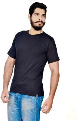 Indian Royals Solid Mens Round Neck Black T-Shirt