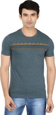 Minute Merge Printed Men's Round Neck Dark Green, Blue T-Shirt