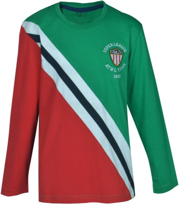 Gini & Jony Striped Boy's Round Neck Green T-Shirt