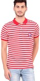 Bonaty Striped Men's Polo Neck Red T-Shi...