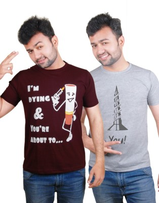 Tymstyle Printed Men,s Round Neck Maroon, Grey T-Shirt