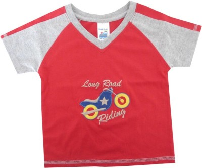 Magic Train Applique Baby Boy,s, Baby Girl's V-neck Red T-Shirt
