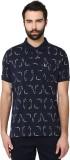 Parx Printed Men's Polo Neck Blue T-Shir...