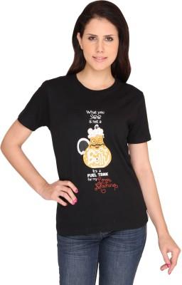 Idiot Theory Graphic Print Women's Round Neck Black T-Shirt