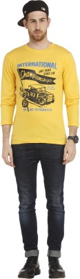 Cali Republic Printed Men's Round Neck Yellow, Black, Blue T-Shirt