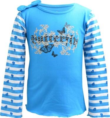 Blueriver Graphic Print Girl's Round Neck Light Blue T-Shirt