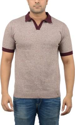 Blue Heaven Solid Men's Polo Neck Brown T-Shirt