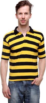 Grand Bear Striped Men's Polo Neck Reversible Yellow, Black T-Shirt