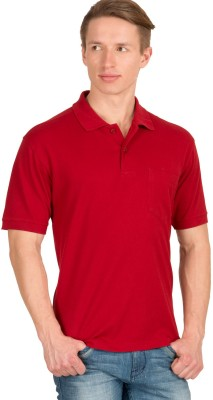 Wilkins & Tuscany Solid Men's Polo Neck Red T-Shirt