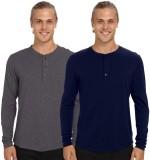 Nicewear Solid Men's Henley Grey, Blue T...