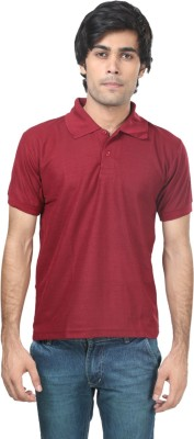 Trendy Trotters Solid Men's Polo Maroon T-Shirt