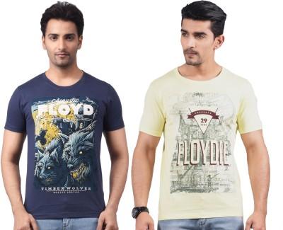 Motiv8Jeans Graphic Print Men's Round Neck Dark Blue T-Shirt