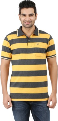 6P6 Striped Men's Polo Neck Yellow, Grey T-Shirt