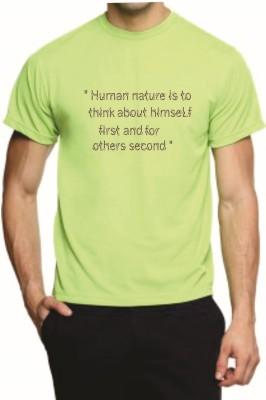 Teeswood Printed Men's Round Neck Light Green T-Shirt
