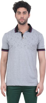Purple Haze Floral Print Men's Polo Neck Grey T-Shirt