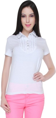 Bedazzle Solid Women's Polo Neck T-Shirt