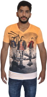 Uniqe Printed Men's V-neck Orange T-Shirt