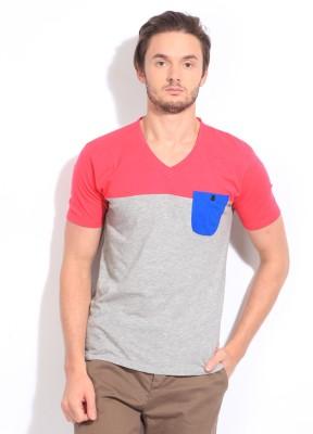 Breakbounce Solid Men's V-neck Pink, Grey T-Shirt