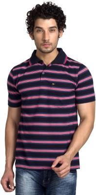 YOO Striped Men's Polo Neck Red T-Shirt