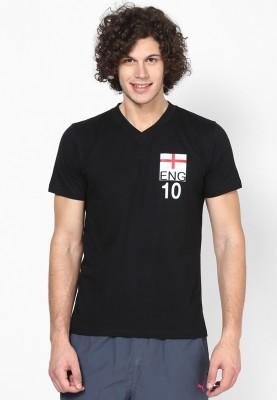 Blotch Printed Men's V-neck Black T-Shirt