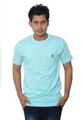 Lampara Solid Men's Round Neck Blue T-Shirt