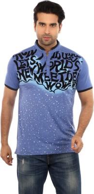 GOT IT Printed Men's Mandarin Collar Blue T-Shirt