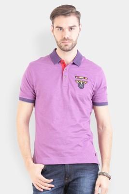 Crocodile Solid Men's Polo Purple T-Shirt