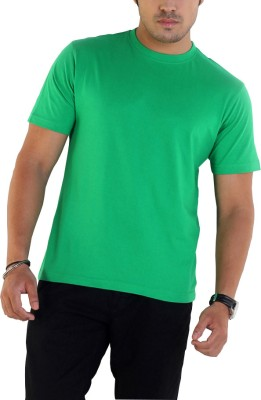 Globus Solid Men's Round Neck Light Green T-Shirt