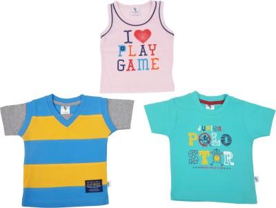 Cucumber Printed Baby Boy's Round Neck Blue, Yellow, Pink T-Shirt