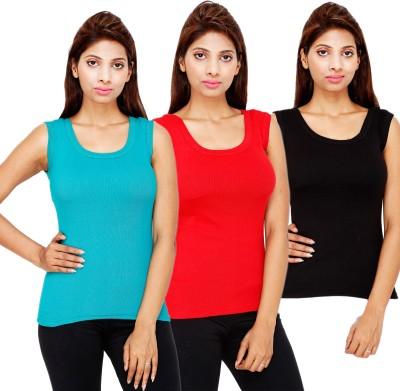 Kiez Solid Women's Round Neck Pink T-Shirt