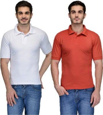 Feed Up Solid Men's Polo Neck Red, White T-Shirt