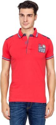 V9 Self Design Men's Polo Neck Red T-Shirt