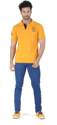 Kkoir Embroidered, Solid Men's Polo Yellow T-Shirt