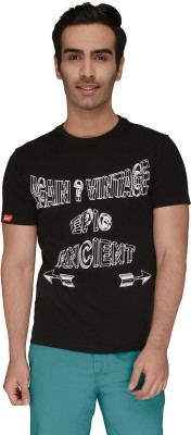 Again Vintage Printed Men's Round Neck Black T-Shirt