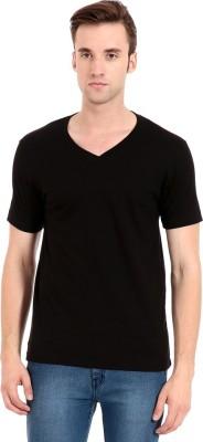 Zeug Solid Men's V-neck Black T-Shirt