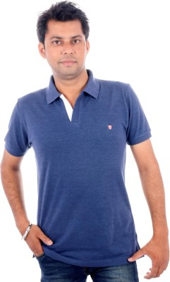 Wells Smith Solid Men,s Polo Blue T-Shirt