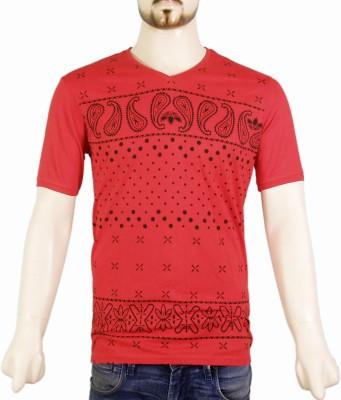 VR Designers Paisley Men,s V-neck Red T-Shirt