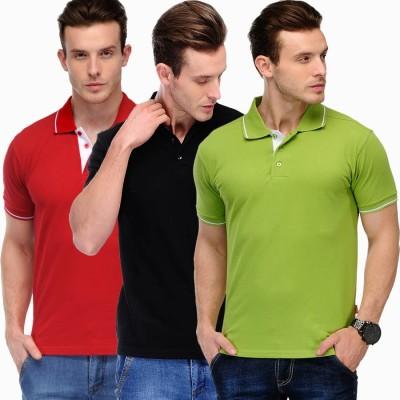 Scott International Solid Men's Polo Red, Black, Green T-Shirt