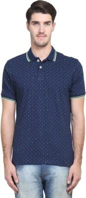Kingswood Printed Men's Polo Neck Blue, Black T-Shirt