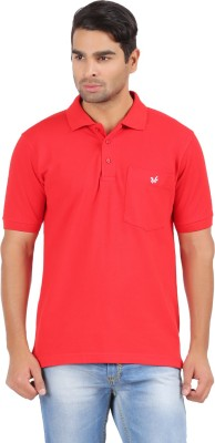 4thneed Solid Men's Polo Red T-Shirt