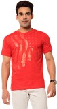 Ebry Printed Men's Round Neck Red T-Shir...