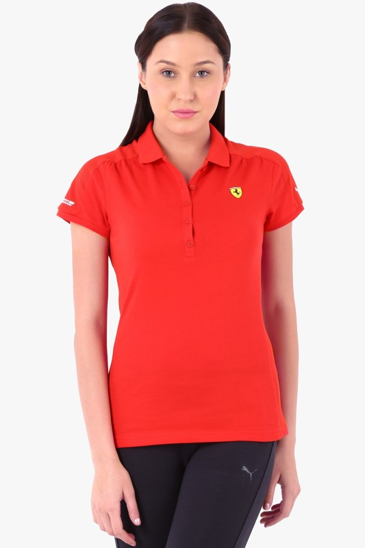 Puma Solid Women's Polo Red T-Shirt