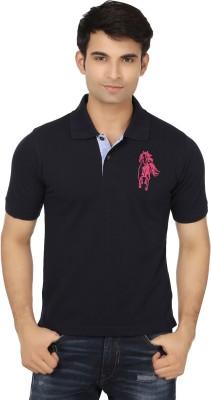 Keewi Solid Men's Polo Neck Dark Blue T-Shirt